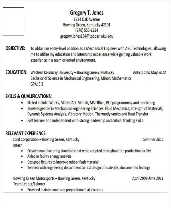 Template entry level engineering resume Pinterest