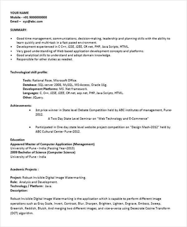 python fresher resume sample