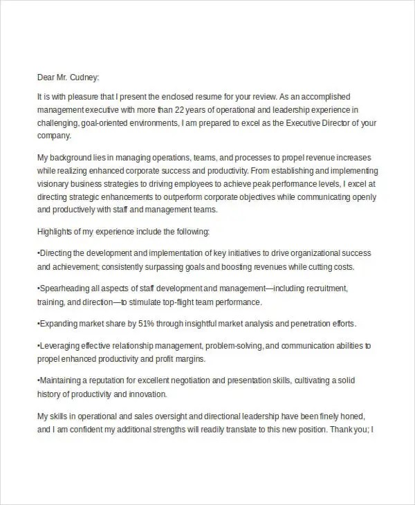 25+ Free Executive Resume Templates - PDF, DOC Free  Premium - executive director cover letter