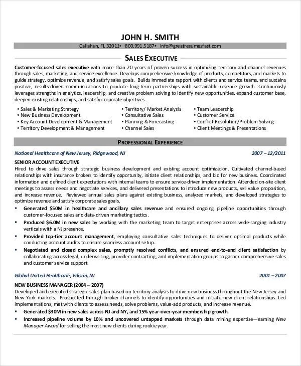 20+ Printable Executive Resume Templates - PDF, DOC Free  Premium - sales executive resume examples