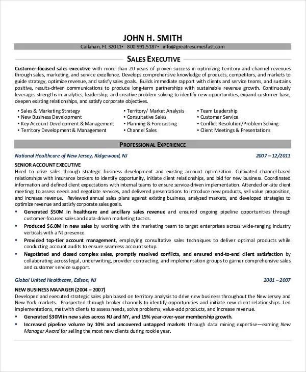 executive resume sample 2017