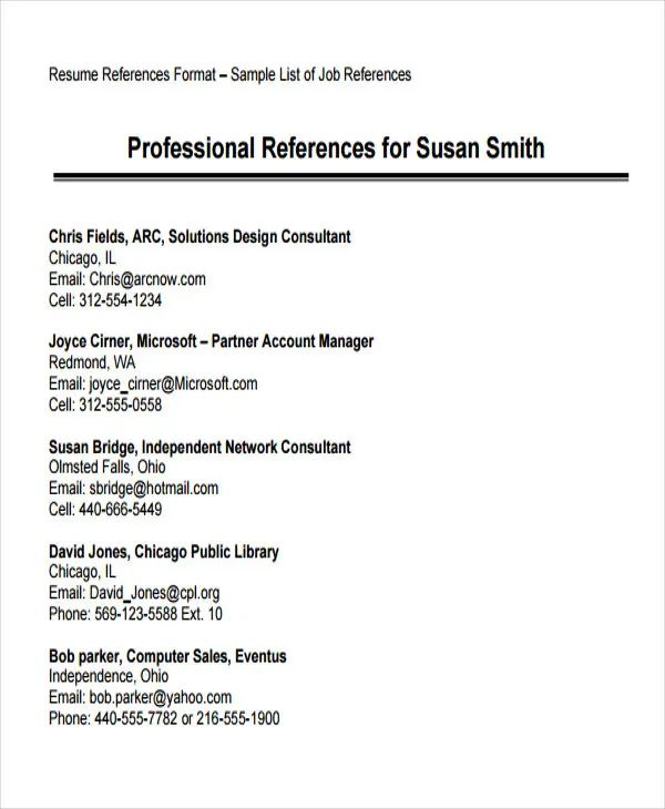 how to format references on resumes