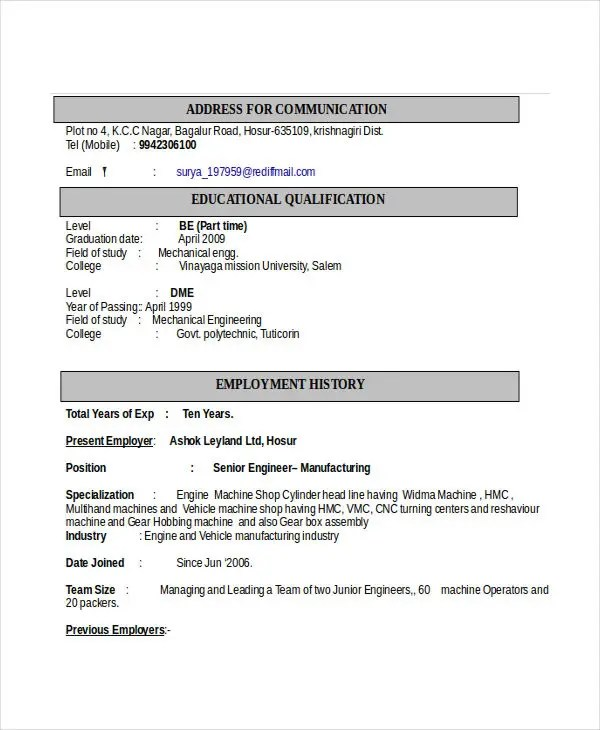 technical resume format download - Onwebioinnovate