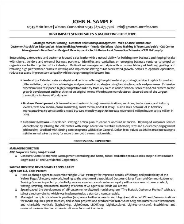 Sample Resume Of Executive Director \u2013 resume