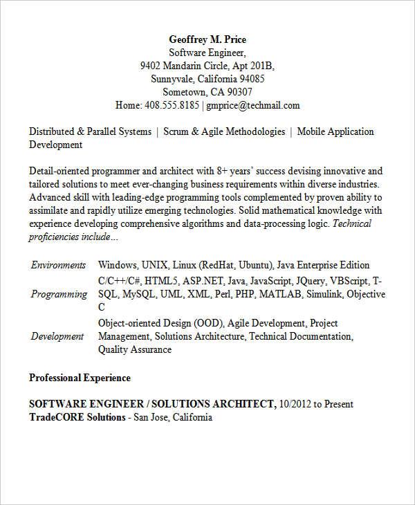 30+ Modern Engineering Resume Templates Free  Premium Templates - software development resume