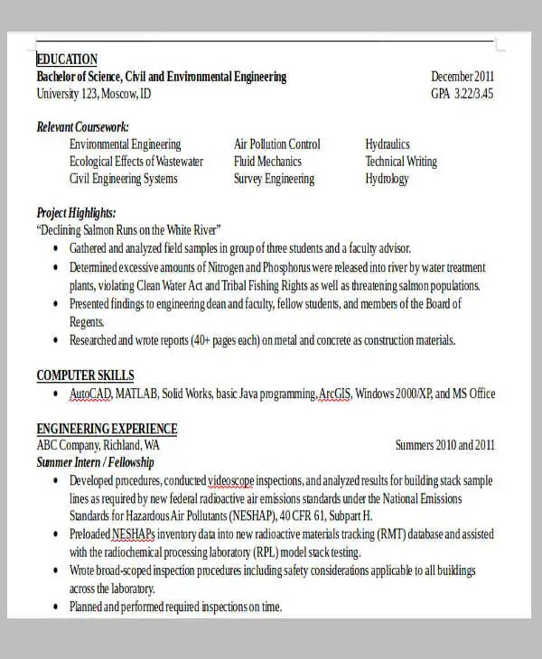 13+ Fresher Resume Templates in Word Free  Premium Templates - pollution control engineer sample resume
