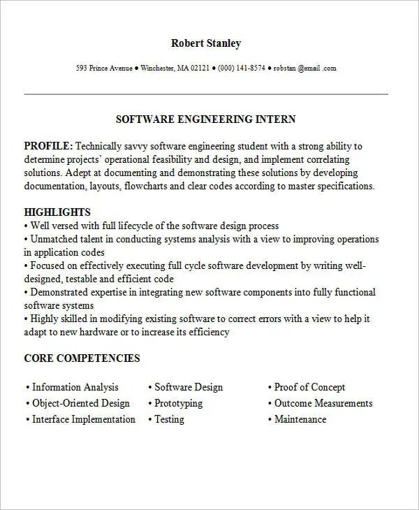 Internship Resume Template Computer Science Internship Resume - engineering student resume