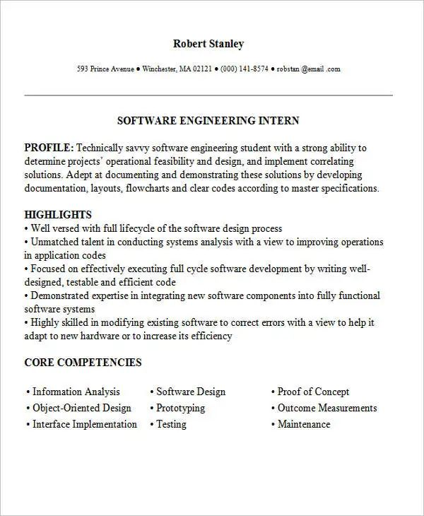 engineering resume sections