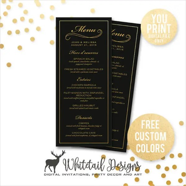 25+ Party Menu Designs Free \ Premium Templates - dinner party menu template
