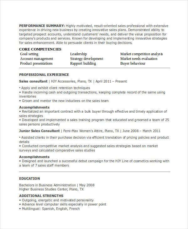 30+ Sales Resume Templates - PDF, DOC Free  Premium Templates