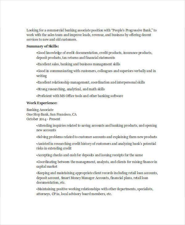 Retail Banker Sample Resume oakandale