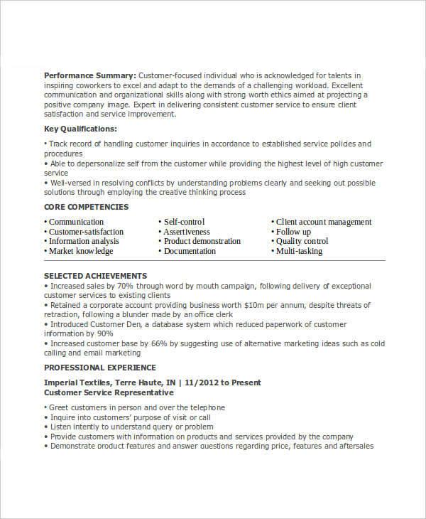 customer service representative resume sample doc