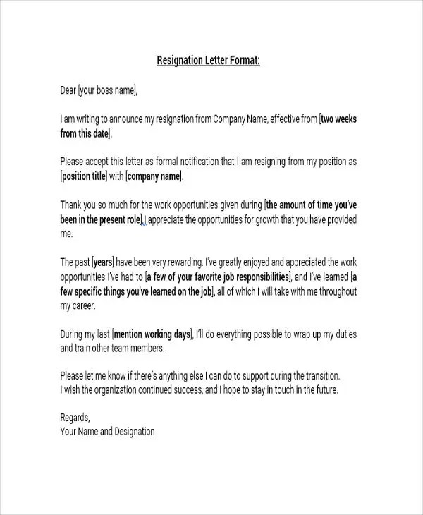... 8+ Standard Resignation Letter Templates   Free Word, PDF Format   Standard  Resignation Letter ...