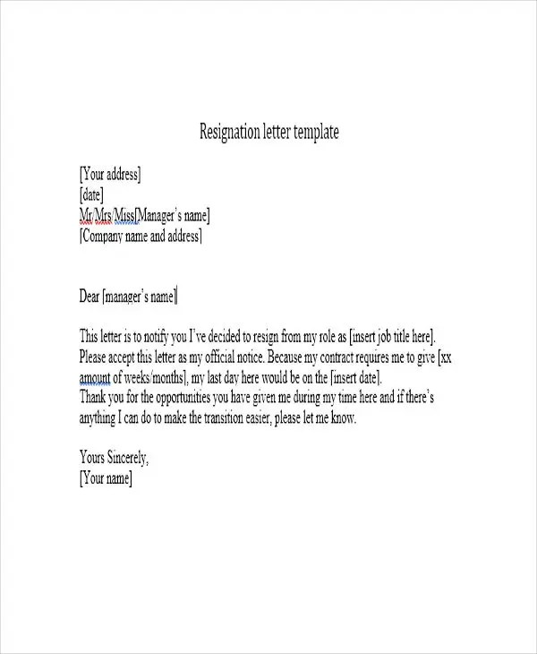Resignation Letter Short Notice  NodeResumeTemplate
