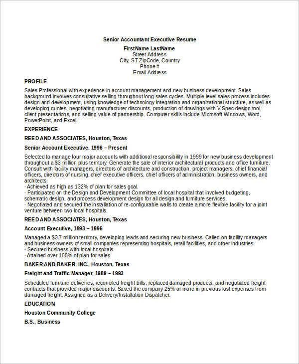 senior sales manager resume sample