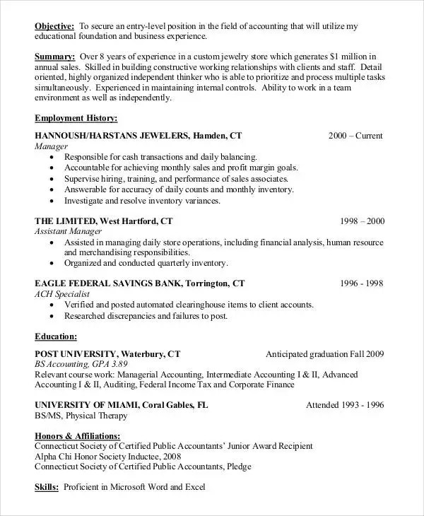 20+ Accountant Resume Examples Free \ Premium Templates - entry level accounting resume objective