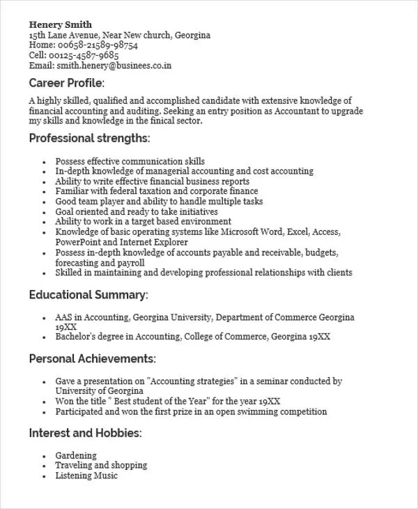 30+ Fresher Resume Templates - PDF, DOC Free  Premium Templates - profile on a resume example