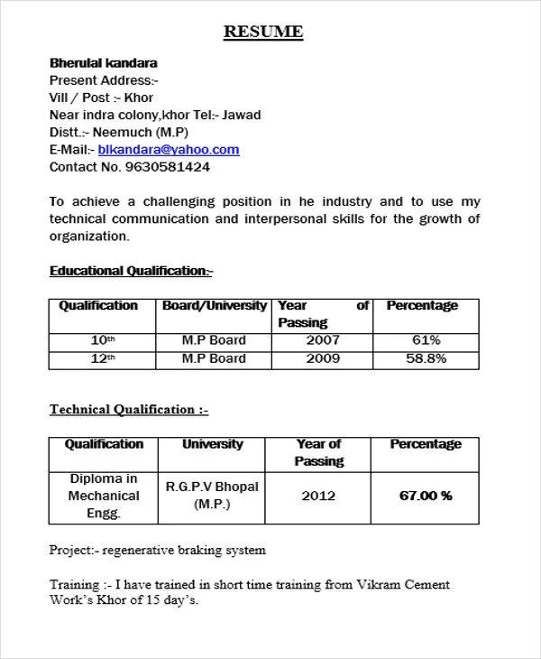 fresher resume sample for cse