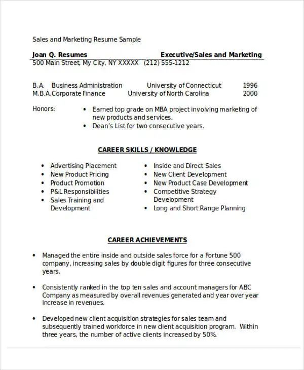 sample resume for sales executive doc