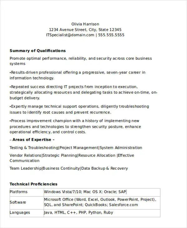 It Resume Entry Level Objective Statement For Resume Entry Level