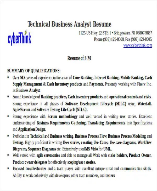 Technical Business Analyst Resume Personal Trainer Duties Resume