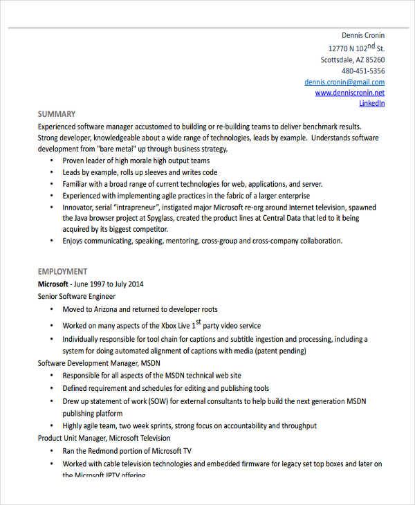 31+ Professional Engineering Resume Templates Free \ Premium - software engineering manager resume