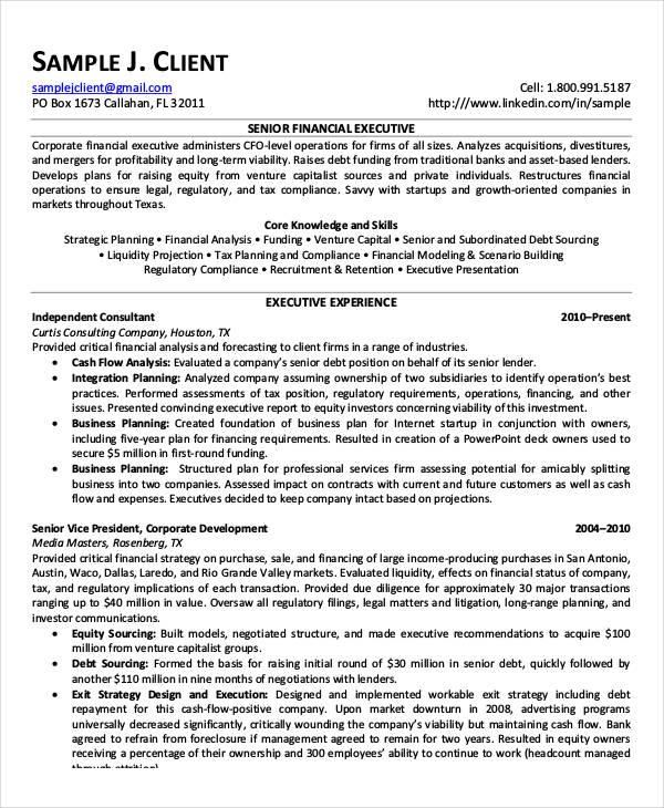 senior position resume sample