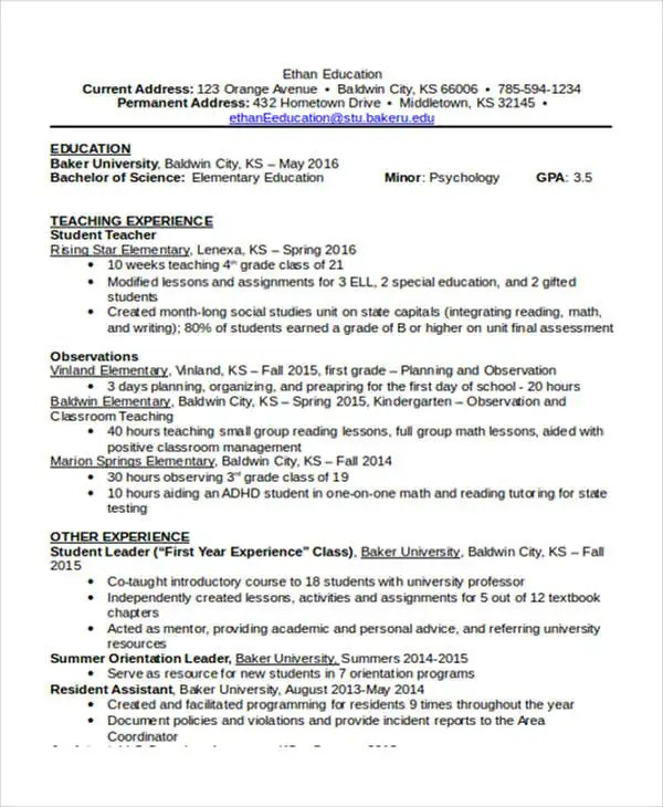 15+ Basic Education Resume Templates - PDF, DOC Free  Premium - special education resume
