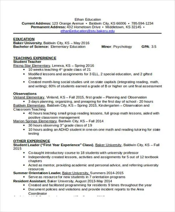 special education resume objective sample