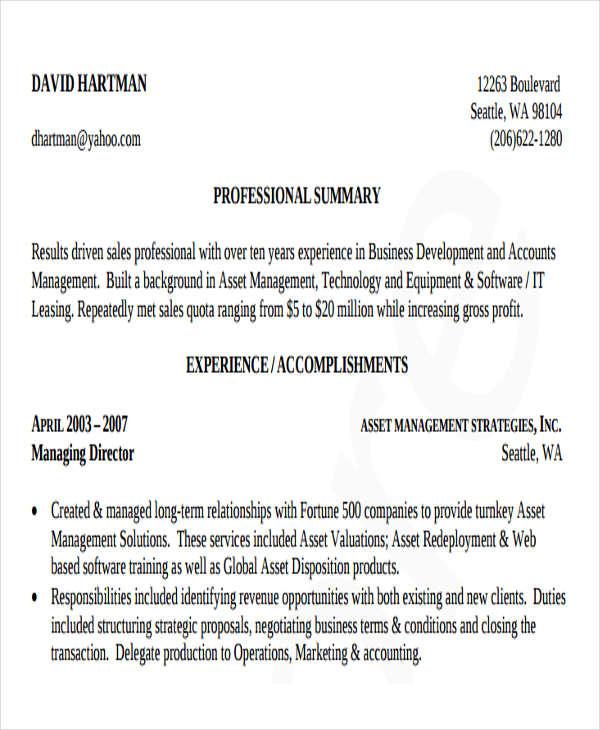 Business Development Resume Samples colbro