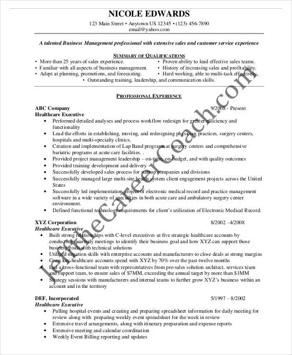 20+ Printable Executive Resume Templates - PDF, DOC Free  Premium