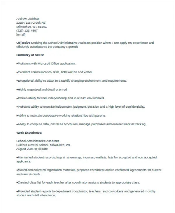 free administrative assistant basic resume templates