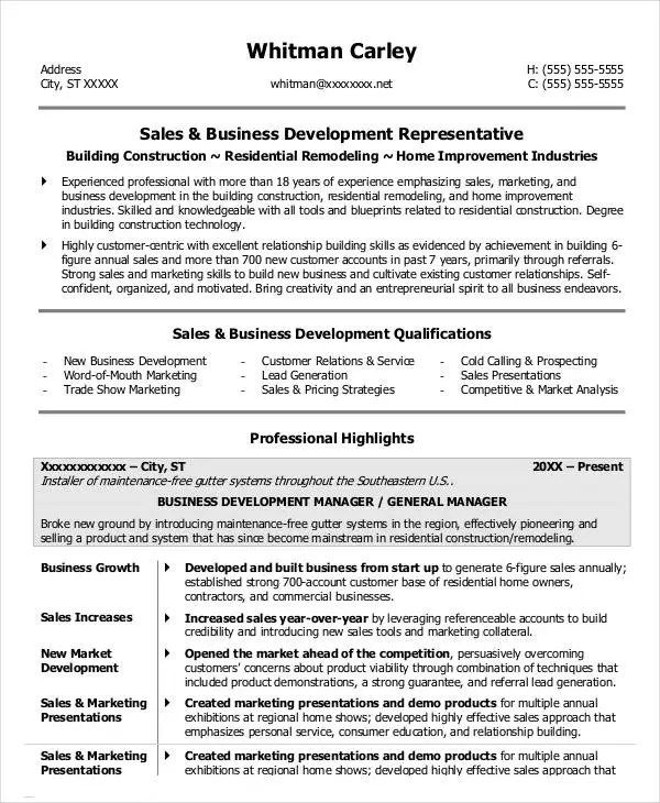 24+ Business Resume Templates Free  Premium Templates - Business Development Resume Samples