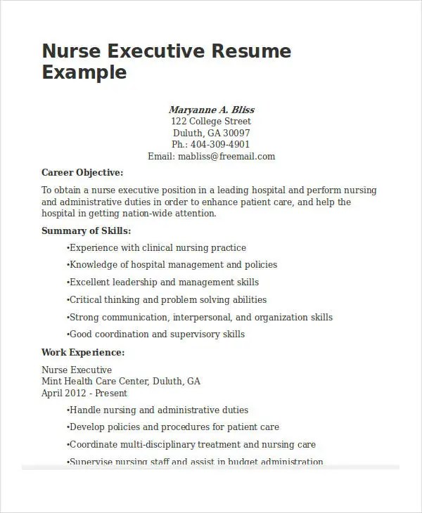 20+ Printable Executive Resume Templates - PDF, DOC Free  Premium - executive resume formats and examples