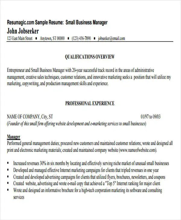 35+ Free Business Resume Templates - PDF, DOC Free  Premium Templates - sample resume for business owner