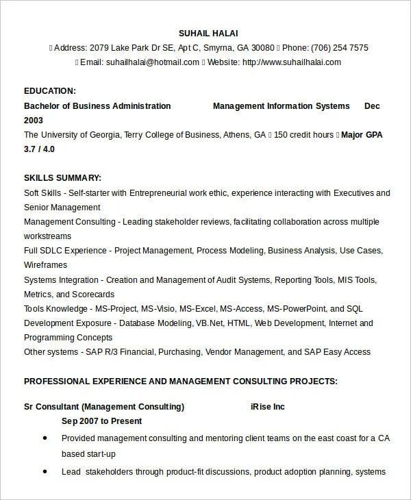 24+ Business Resume Templates Free \ Premium Templates - business analyst resume summary