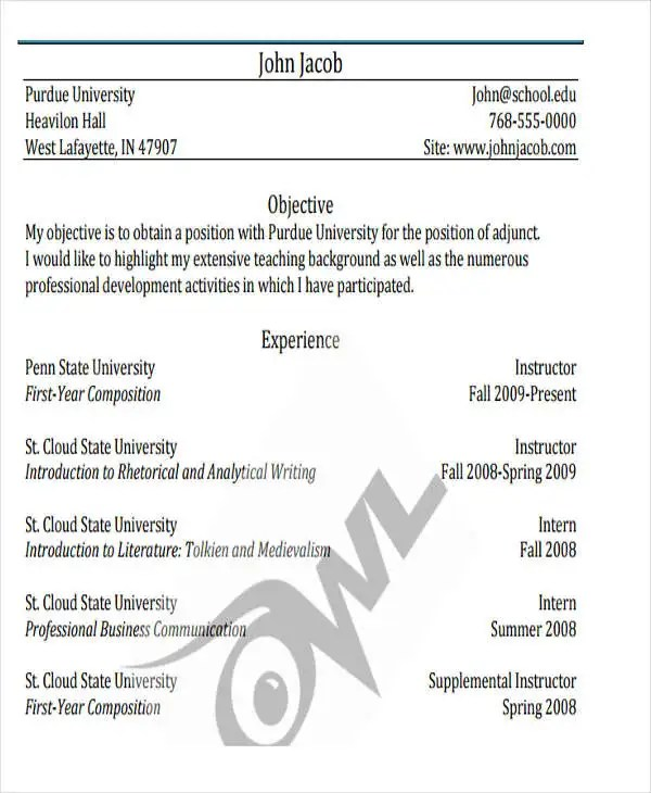 40+ Free Business Resume Free \ Premium Templates - purdue owl resume