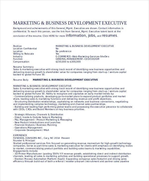 business development resumes
