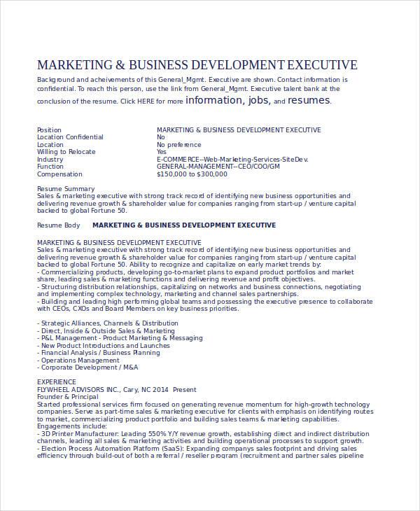 business development executive resume examples