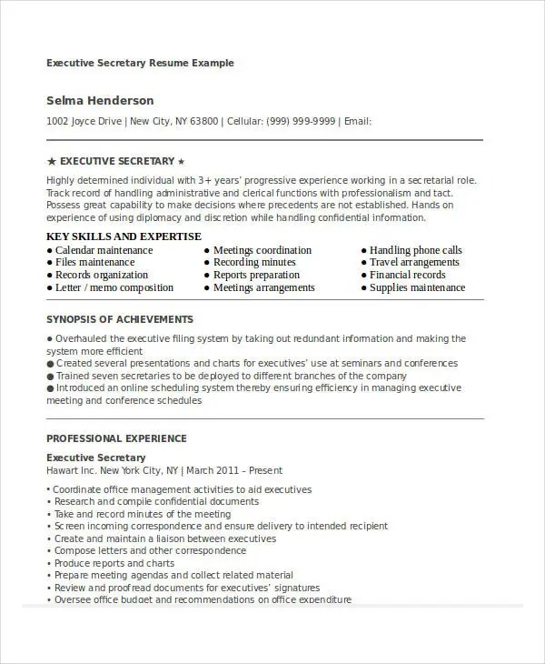 Executive Secretary Resume Examples - Examples of Resumes