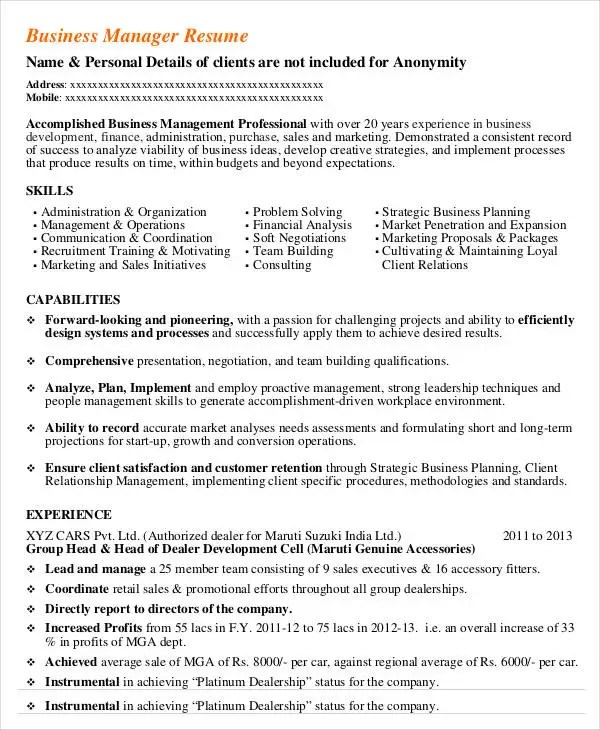 24+ Business Resume Templates Free  Premium Templates - business development resume example