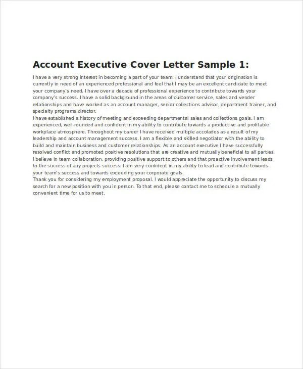 Cosmetic Account Executive Cover Letter Cvresumeunicloudpl