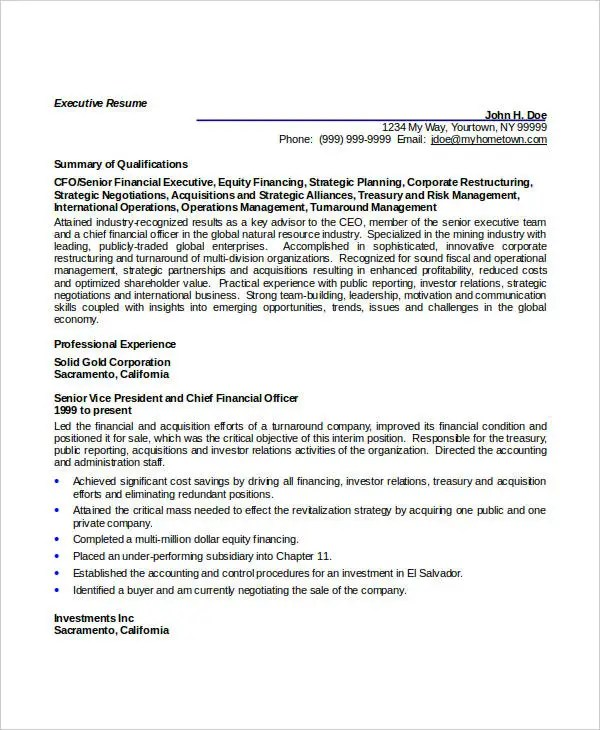 45+ Executive Resume Templates - PDF, DOC Free  Premium Templates