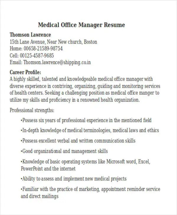 objective for resume in medical field