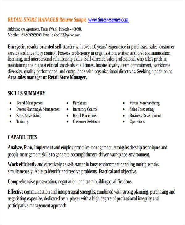 32+ Manager Resume Templates - PDF, DOC Free  Premium Templates - Retail Store Manager Resume
