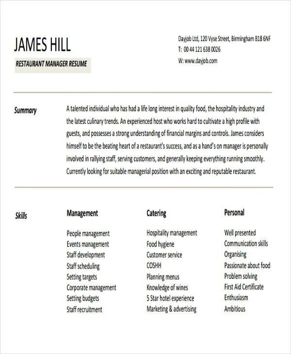 42+ Manager Resume Templates Free \ Premium Templates - restaurant manager resume template