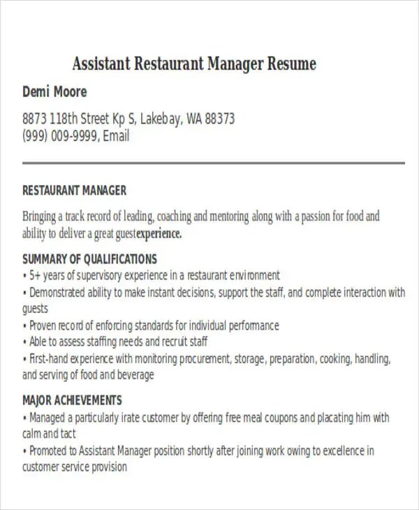 fast food manager resume sample