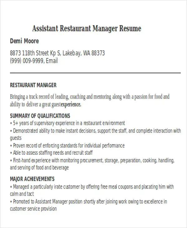 assistant property manager resume examples