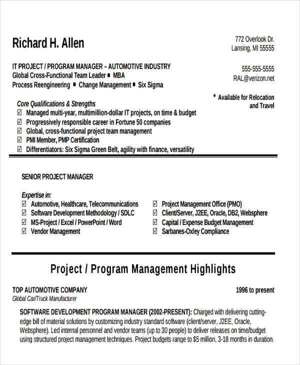 37+ Manager Resume Templates - PDF, DOC Free  Premium Templates