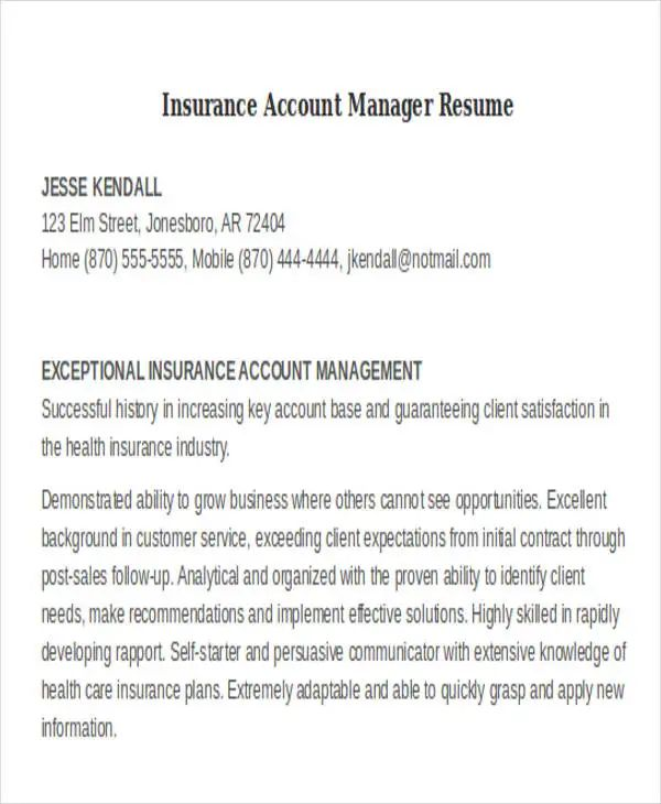 resume samples for insurance account manager
